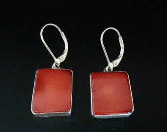 Red Coral Earrings // 925 Sterling Silver // Square Shape // Lever Backings // Natural Red Coral Silver Earrings
