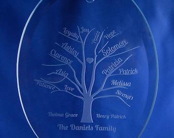 Personalized Family Tree Ornament, Family Tree, Family Tree Sun Catcher, Sun Catcher Ornament, Personalized Ornament, Custom Gift (CS087)