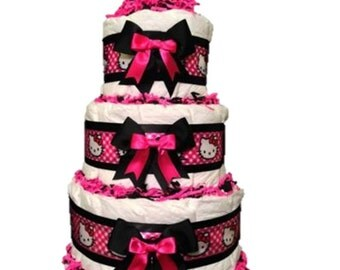 Hello Kitty Diaper Cake, Hello Kitty Girl Baby shower Centerpiece, Hello Kitt  Baby Shower, Hello Kitty baby Gift, Hello Kitty Diaper Cake