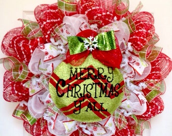 Merry Christmas Y'All Ornament Handmade Deco Mesh Holiday Wreath