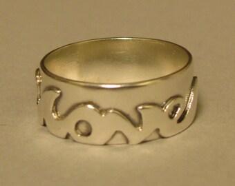 Love Ring, Graffiti Jewelry, Inspirational Jewelry, Silver, handmade