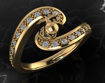 Womens Marine Corps Ring with Diamonds