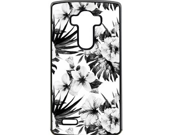 LG Case Black and White Hibiscus LG G3 Case LG G4 Case Phone Case lg phone case g4 case g3 case Phone Cover
