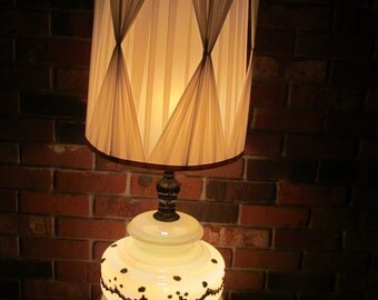 Vintage Iridescent Lamp  with Shade  42'' tall