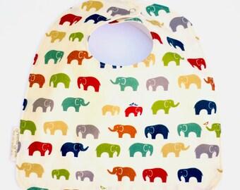 Elephant Baby Bib, Colorful Elephant Toddler Bib, Organic Baby Bib in Ellie, Feeding Bib, Baby Girl Bib, Baby Boy Bib, Adjustable Baby Bib