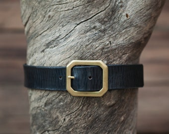 "Children's Belt - Black Leather with Textured Finish - 1.5"" wide with brass octagon buckle (Children's)"