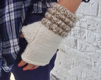 Thick Alpaca/Wool Fingerless Gloves Mittens – Cream -  READY TO SHIP