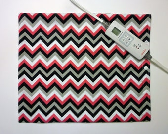 Heating Pad Cover ~ Electric Heating Pad Cover ~ Fits 12 x 15 ~ Beetroot Chevron