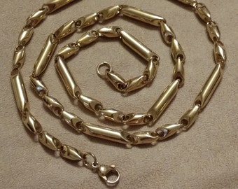 Gentleman's Heavy Stainless Ignot Chain, Gold Stainless Steel, Heavy, High Quality