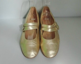 Gold Lamé Vintage Shoes // Feliziani // Size 37 // Made In Italy