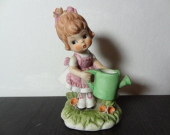 Vintage Mann Bisque Loveables Figurine - Little Girl in Dress Watering Flowers
