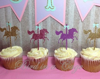 Carousel Horse Cupcake Toppers (Carousel Party, Carousel Birthday, Carousel Decorations)