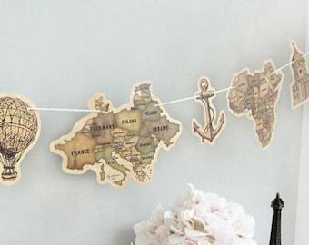 Antique Continent World Travel Garland Banner