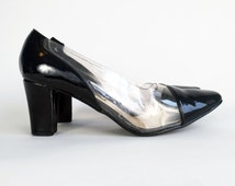90s Shoes / 90s Clear Black Pumps Vintage 1990's Vinyl Shoes Clear Black High Heel Pumps Shoes US Women's Size 8 by Via Isola