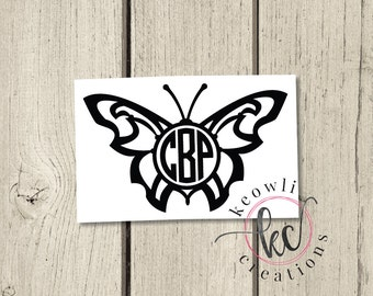 Butterfly Monogram Vinyl Decal-Style 7