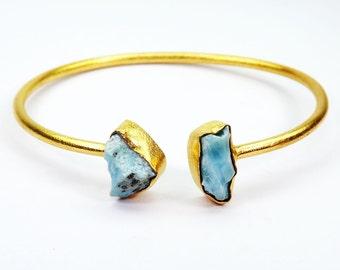 Larimar Bangle, Rough Larimar Bangle,  Adjustable Bangle, Gold Vermeil Jewelry, Gemstone Bangle, Gold Plated Bangle, Bracelets - RBB965