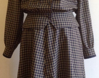 Vintage two piece suit with high waist skirt and a jacket