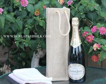 Natural Burlap Wine Bag | Perfect As Eco Friendly Burlap Gift Bags, Rustic Wedding Favors, Wholesale Gusset Jute Favor Bags