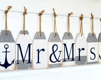 Wedding banner Mr and Mrs banner Custom banner Wedding sign Mr and Mrs sign Nautical wedding decoration Wedding garland Shower banner