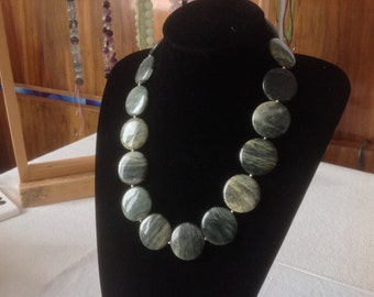 MOSS AGATE Necklace. Large coins Natural stones. Modern, evergreen, Smart to wear everydays. Agata, natural stone necklace.HW175