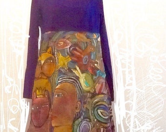 Organic cotton dress hand painted