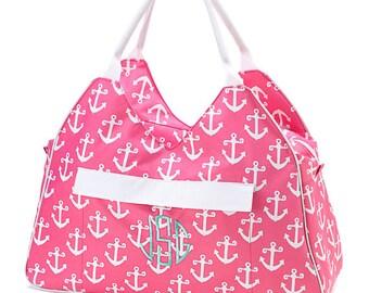 Mongram Anchor Beach Bag, Personalized beach Bag, Zipper Canvas Beach Bag, Easy Clean, Carry on Bag, Tote bag, Beach Tote Bag, Shopping Bag