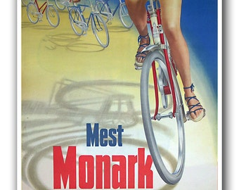 Vintage Bike Art Cycling Bicycle Print Biking Sports Poster (H370)