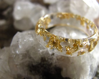 Clear Resin Ring, Gold flakes Faceted Ring, Stacking Ring, Transparent ring, Minimal Gold Ring, Clear Resin Jewelry, Gift for Women, For Her