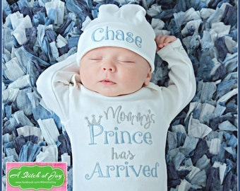Mommys Prince Has Arrived Gown and Hat, Mommy's Boy is Here Gown, Birth Announcement, Baby Shower Gift