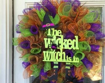wicked witch Wreath, Witch Wreath, front door Wreath, Halloween Wreath, Deco Mesh Wreath