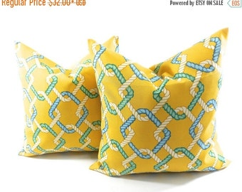 On Sale Outdoor Pillow cover. Set of 2. Cape Cod Summer. Yellow. Beach decor. stain & dirt resistant Decorative pillow case. Select your siz