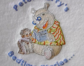 Bedtime Stories Design (35) Embroidered Personalised Fleece Baby Blanket