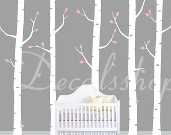 nursery tree wall decal stickers pink leaves tree wall decals
