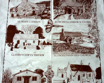 Vintage Cotton Tea Towel / Tea Cloth Churches of the Conwy Valley, Wales Brand New Never Used