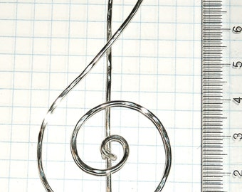 CIONDOLO CHIAVE VIOLINO Argento Rame Ottone Alpacca NoNichel HandMade Italy Ciondolo Chiave Sol Lovely Musical Pendent Gift Musica sul Cuore