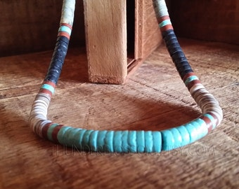 Vintage Heishi Necklace Turquoise Obsidian, Shell Native American Indian Southwest Spiritual