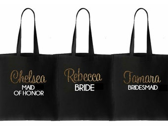 Bridesmaid Tote bag, Bride Tote, Bridal Party Totes, Wedding Bag, Bridesmaid Gift, Tote Bags