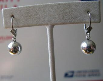 Vintage Sterling Silver Bead Ball Earrings