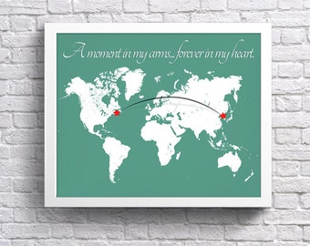 Adoption Map CUSTOMIZED Print - World Map & Quote with Connecting Lines. Custom Country, Adoption Print, Nursery Decor, Nursery gift