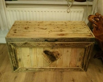 Reclaimed wooden ottoman /toybox handcrafted from aged reclaimed wood
