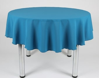 Teal Round Tablecloth - Made from polyester fabric not cotton.