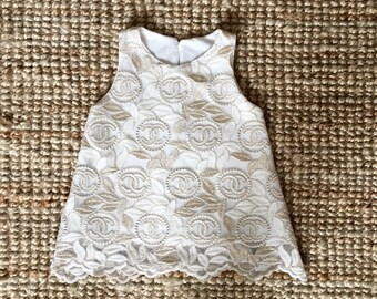 Baby Girl Lace  Dress with Pearl and Gold thread   - COCO Chanel  Inspired