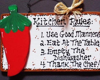 White Sign KITCHEN RULES RED Chili Pepper Wall Decor Southwest Wood Craft Plaque
