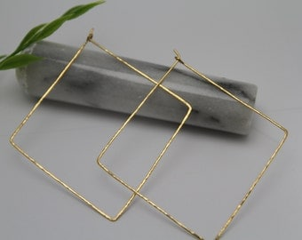 Hammered square hoop earring ( brass/ silver/ copper)