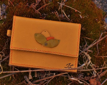 Wallet or yellow leather business card holders, handmade, handsewn, Canada