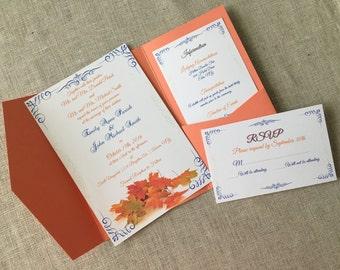 Elegant Fall Autumn Leaves Invitation Set - Invite RSVP Information Insert - DIY PRINT Digital Custom