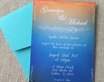 Watercolor Ombre Elegant Calligraphy Wedding Invitation Set