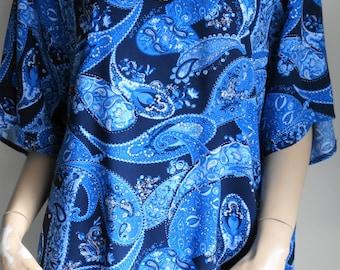 Paisley Blue cotton Top #RTS