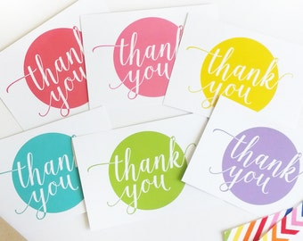 Thank You Flat Cards - Rainbow Colors