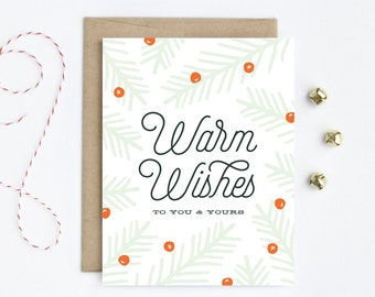 Holiday Card / Christmas Card - Warm Wishes in Mint